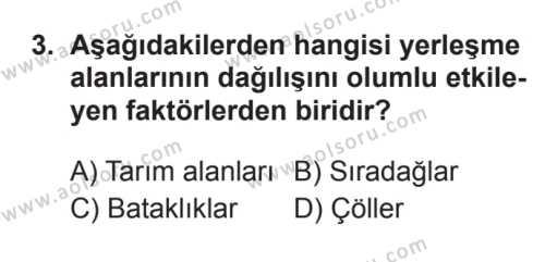 Coğrafya 2 Dersi 2017 - 2018 Yılı 3. Dönem Sınavı 3. Soru