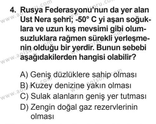 Coğrafya 2 Dersi 2017 - 2018 Yılı 3. Dönem Sınavı 4. Soru