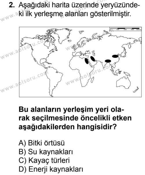 Coğrafya 2 Dersi 2017 - 2018 Yılı Ek Sınavı 2. Soru