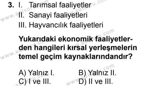 Coğrafya 2 Dersi 2017 - 2018 Yılı Ek Sınav Soruları 3. Soru
