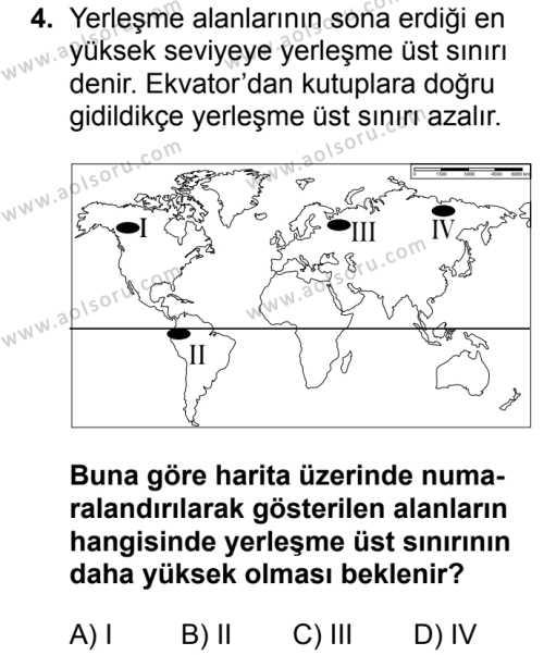 Coğrafya 2 Dersi 2017 - 2018 Yılı Ek Sınav Soruları 4. Soru