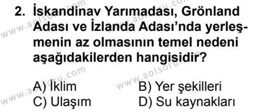 Coğrafya 2 Dersi 2018 - 2019 Yılı 1. Dönem Sınavı 2. Soru