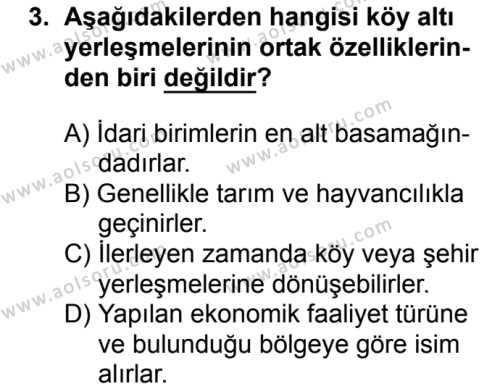 Coğrafya 2 Dersi 2018 - 2019 Yılı 1. Dönem Sınavı 3. Soru