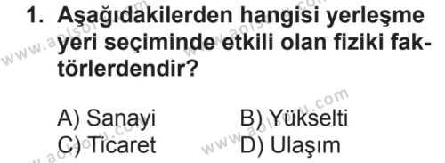 Coğrafya 2 Dersi 2018 - 2019 Yılı 2. Dönem Sınavı 1. Soru