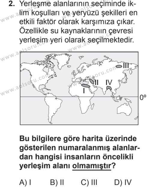 Coğrafya 2 Dersi 2018 - 2019 Yılı 2. Dönem Sınavı 2. Soru