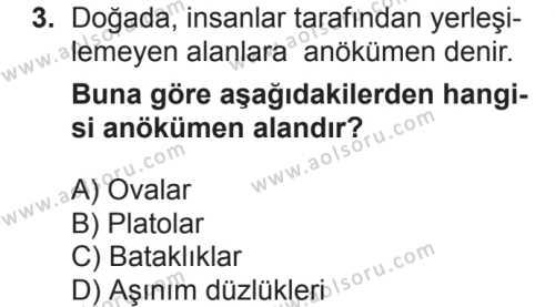 Coğrafya 2 Dersi 2018 - 2019 Yılı 2. Dönem Sınavı 3. Soru