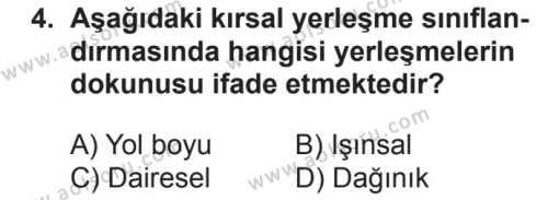 Coğrafya 2 Dersi 2018 - 2019 Yılı 2. Dönem Sınavı 4. Soru