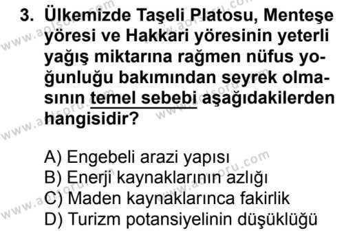 Coğrafya 2 Dersi 2018 - 2019 Yılı 3. Dönem Sınavı 3. Soru