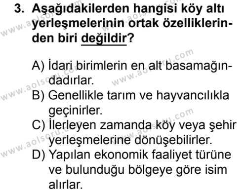 Coğrafya 2 Dersi 2018 - 2019 Yılı Ek Sınavı 3. Soru