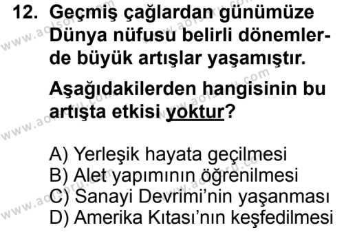 Coğrafya 3 Dersi 2011-2012 Yılı 1. Dönem Sınavı 12. Soru