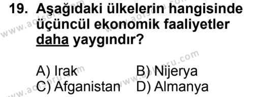 Coğrafya 3 Dersi 2011-2012 Yılı 1. Dönem Sınavı 19. Soru