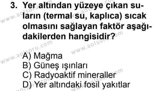 Coğrafya 3 Dersi 2011 - 2012 Yılı Ek Sınavı 3. Soru