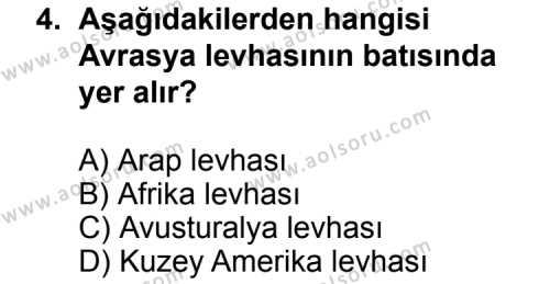 Coğrafya 3 Dersi 2012-2013 Yılı 1. Dönem Sınavı 4. Soru