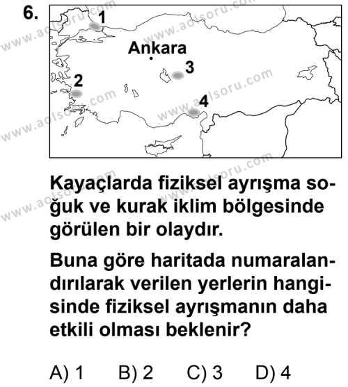 Coğrafya 3 Dersi 2013-2014 Yılı 1. Dönem Sınavı 6. Soru