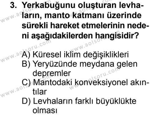 Coğrafya 3 Dersi 2013 - 2014 Yılı 3. Dönem Sınav Soruları 3. Soru