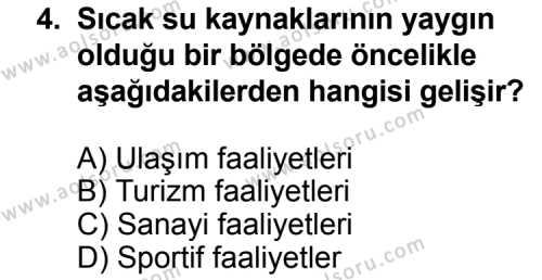 Coğrafya 3 Dersi 2013 - 2014 Yılı 3. Dönem Sınav Soruları 4. Soru