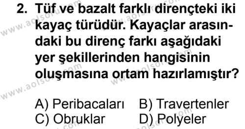 Coğrafya 3 Dersi 2015 - 2016 Yılı 3. Dönem Sınav Soruları 2. Soru