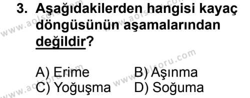 Coğrafya 3 Dersi 2015 - 2016 Yılı 3. Dönem Sınav Soruları 3. Soru