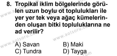 Coğrafya 3 Dersi 2016-2017 Yılı 1. Dönem Sınavı 8. Soru