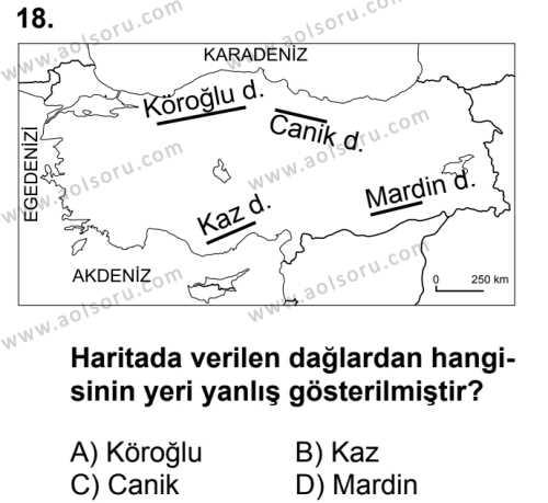 Coğrafya 3 Dersi 2016-2017 Yılı 1. Dönem Sınavı 18. Soru