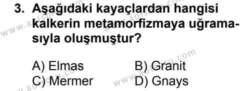 Coğrafya 3 Dersi 2017 - 2018 Yılı 2. Dönem Sınavı 3. Soru