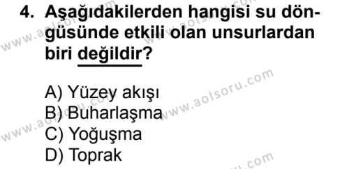 Coğrafya 3 Dersi 2017 - 2018 Yılı 2. Dönem Sınavı 4. Soru