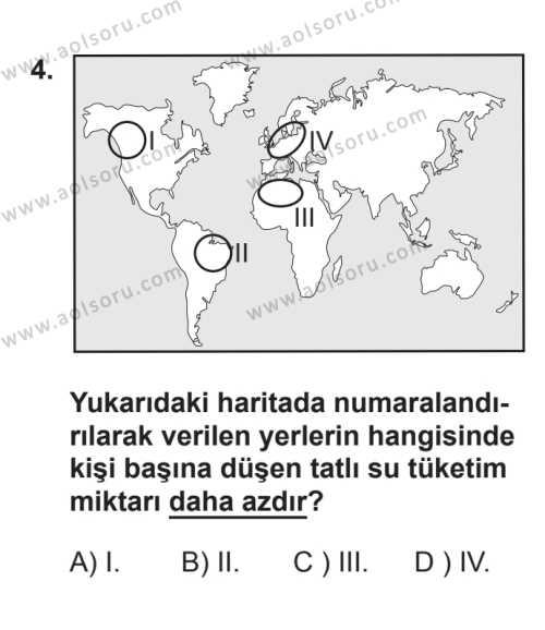 Coğrafya 3 Dersi 2017 - 2018 Yılı 3. Dönem Sınavı 4. Soru