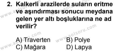 Coğrafya 3 Dersi 2017 - 2018 Yılı Ek Sınavı 2. Soru