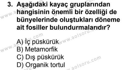 Coğrafya 3 Dersi 2017 - 2018 Yılı Ek Sınavı 3. Soru