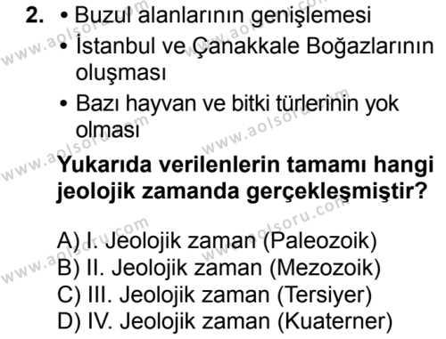 Coğrafya 3 Dersi 2018 - 2019 Yılı 1. Dönem Sınavı 2. Soru