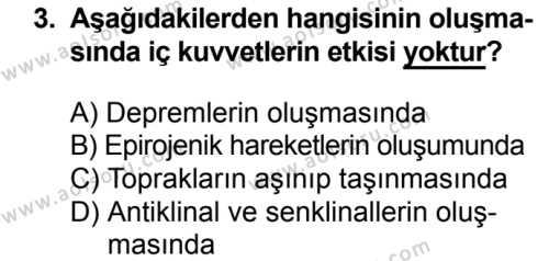 Coğrafya 3 Dersi 2018 - 2019 Yılı 1. Dönem Sınavı 3. Soru