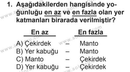 Coğrafya 3 Dersi 2018 - 2019 Yılı 2. Dönem Sınavı 1. Soru