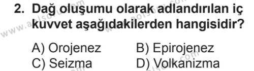 Coğrafya 3 Dersi 2018 - 2019 Yılı 2. Dönem Sınavı 2. Soru