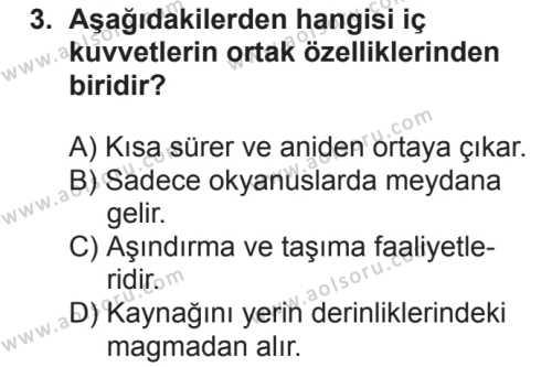Coğrafya 3 Dersi 2018 - 2019 Yılı 2. Dönem Sınavı 3. Soru