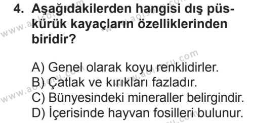 Coğrafya 3 Dersi 2018 - 2019 Yılı 2. Dönem Sınavı 4. Soru
