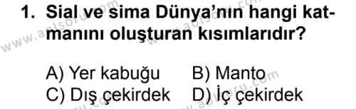 Coğrafya 3 Dersi 2018 - 2019 Yılı Ek Sınavı 1. Soru