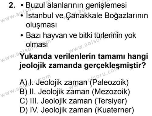 Coğrafya 3 Dersi 2018 - 2019 Yılı Ek Sınavı 2. Soru