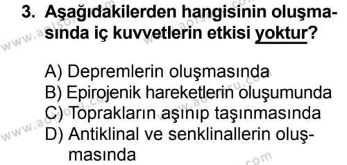 Coğrafya 3 Dersi 2018 - 2019 Yılı Ek Sınavı 3. Soru