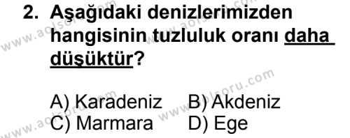 Coğrafya 4 Dersi 2011 - 2012 Yılı 2. Dönem Sınavı 2. Soru