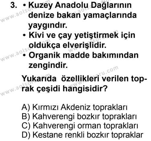 Coğrafya 4 Dersi 2011 - 2012 Yılı 2. Dönem Sınavı 3. Soru