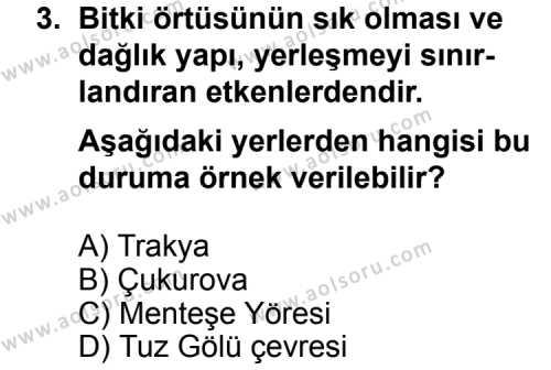 Coğrafya 4 Dersi 2011 - 2012 Yılı Ek Sınavı 3. Soru