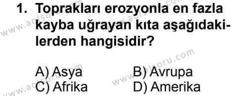 Coğrafya 4 Dersi 2012 - 2013 Yılı 2. Dönem Sınavı 1. Soru