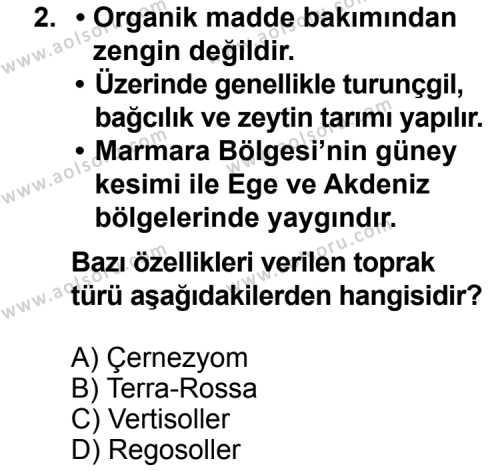 Coğrafya 4 Dersi 2012 - 2013 Yılı 2. Dönem Sınavı 2. Soru