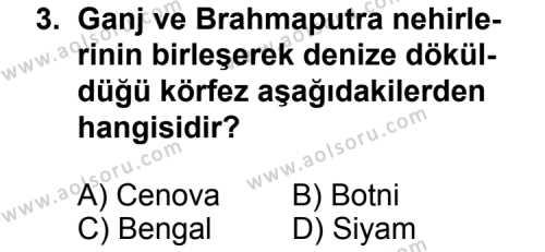 Coğrafya 4 Dersi 2012 - 2013 Yılı 2. Dönem Sınavı 3. Soru