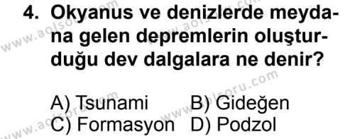 Coğrafya 4 Dersi 2012 - 2013 Yılı 2. Dönem Sınavı 4. Soru