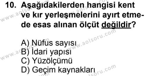 Coğrafya 4 Dersi 2013-2014 Yılı 1. Dönem Sınavı 10. Soru