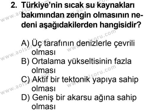 Coğrafya 4 Dersi 2013 - 2014 Yılı 2. Dönem Sınavı 2. Soru