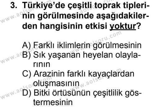Coğrafya 4 Dersi 2013 - 2014 Yılı 2. Dönem Sınavı 3. Soru