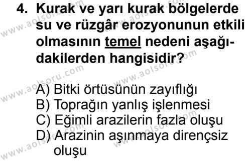 Coğrafya 4 Dersi 2013 - 2014 Yılı 2. Dönem Sınavı 4. Soru