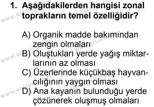 Coğrafya 4 Dersi 2014 - 2015 Yılı 2. Dönem Sınavı 1. Soru